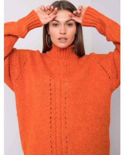Pomarańczowy sweter z akrylu Fashionhunters