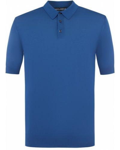 Синее поло с коротким рукавом Dolce & Gabbana