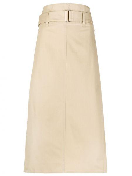 Хлопковая с завышенной талией юбка миди с поясом со шлицей Sofie D'hoore