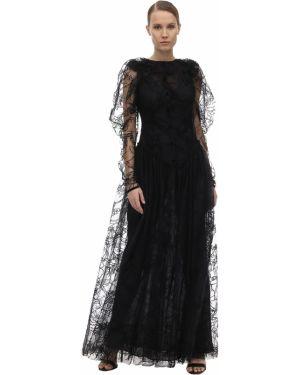 Czarna sukienka długa tiulowa z haftem Sandra Mansour