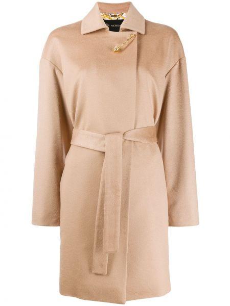 Кашемировое длинное пальто с капюшоном с воротником Versace