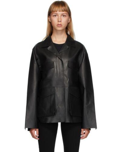 Черная длинная куртка с манжетами с подкладкой с воротником Toteme