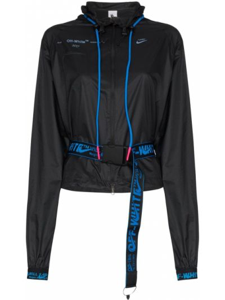 Czarna długa kurtka z kapturem z nylonu Nike X Off White