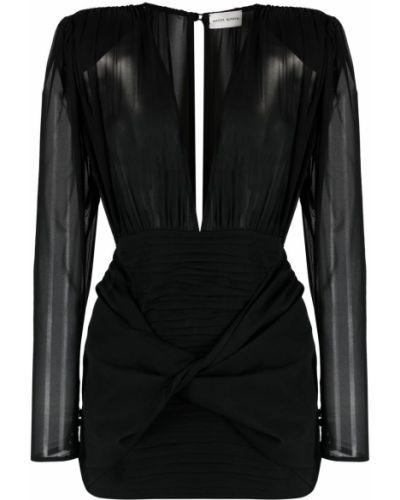 Шелковое черное платье мини Magda Butrym