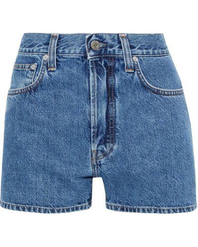 Синие хлопковые джинсовые шорты с поясом Helmut Lang