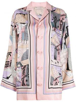 Шелковая с рукавами рубашка с воротником Emilio Pucci