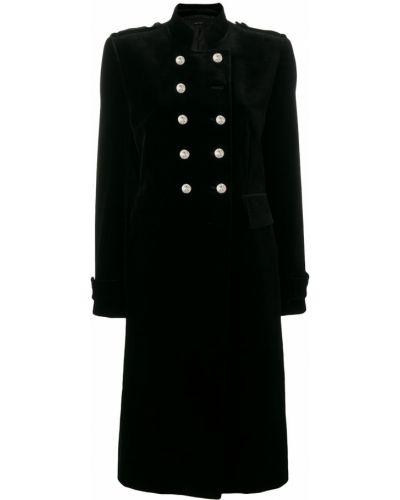 Черное длинное пальто с воротником на пуговицах Tom Ford