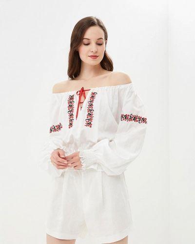 Блузка с открытыми плечами белая весенний Galina Vasilyeva