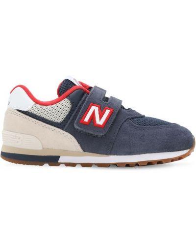 Zamsz niebieski sneakersy z siatką na hakach New Balance