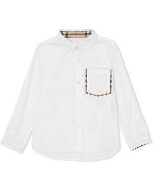 Белая оксфордская рубашка на пуговицах Burberry Kids