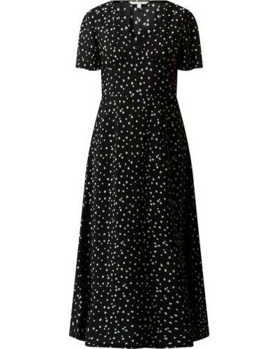 Sukienka rozkloszowana krótki rękaw - czarna Tom Tailor Denim