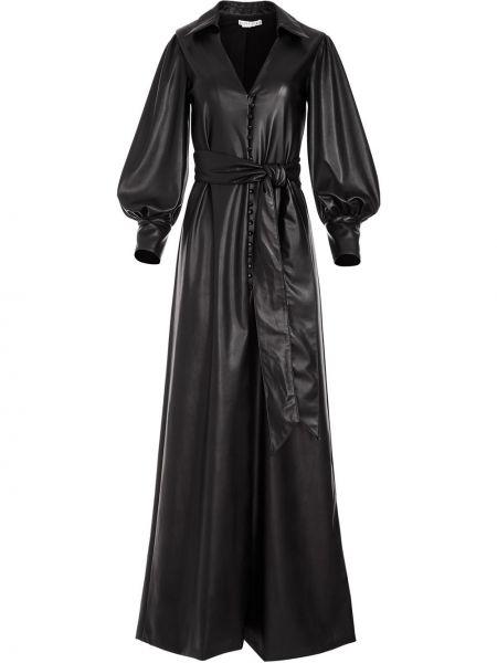 Кожаное черное платье макси с длинными рукавами Alice+olivia