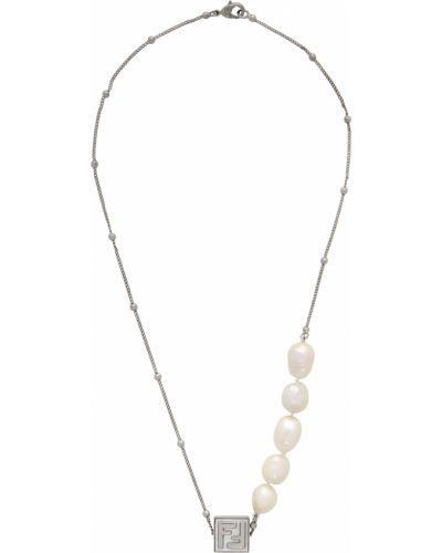Серебряное ожерелье с бисером Fendi
