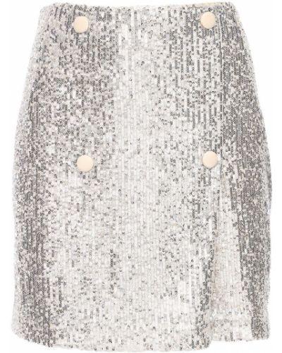 Spódnica mini z cekinami srebrna Rotate