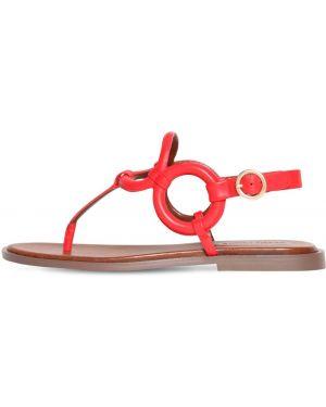 Красные кожаные балетки на каблуке с пряжкой See By Chloé