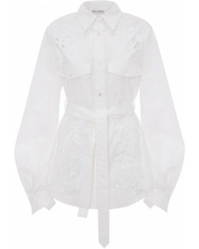 Biała koszula bawełniana z paskiem Jw Anderson