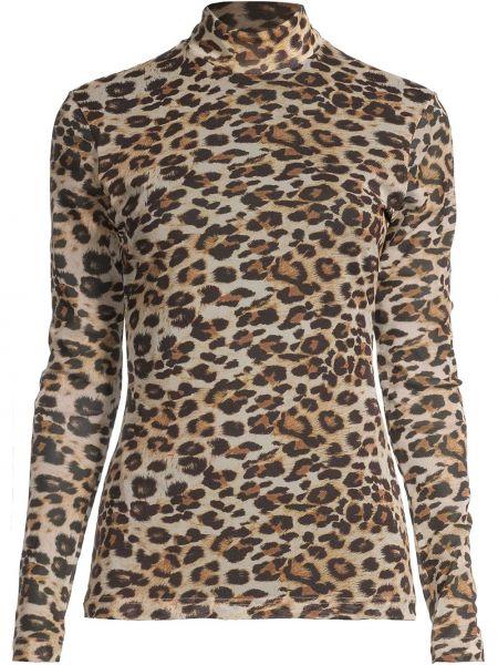 Brązowy top z długimi rękawami z nylonu Nicole Miller