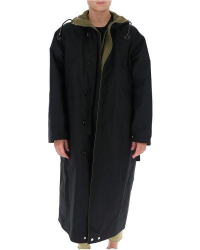 Czarny płaszcz z kapturem bawełniany Marni