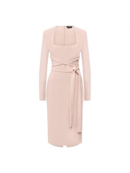 Платье с поясом розовое на молнии Tom Ford