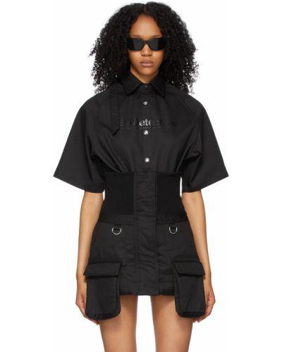 Czarna koszula bawełniana krótki rękaw Hood By Air