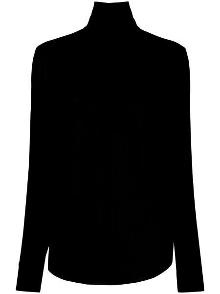 Черная с рукавами блузка из вискозы Rochas