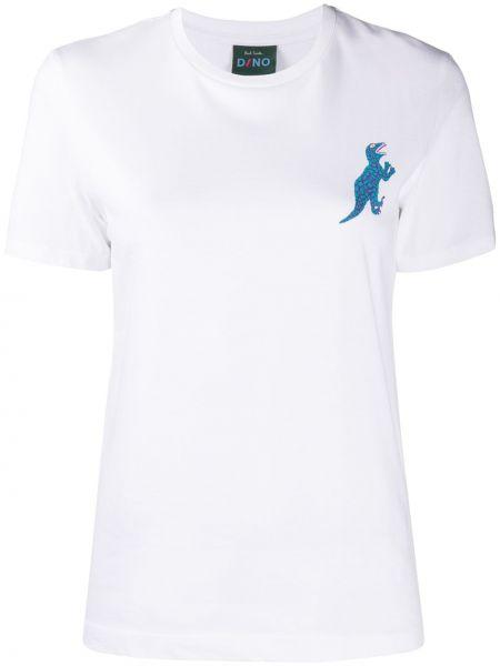 Хлопковая белая прямая футболка с круглым вырезом Paul Smith
