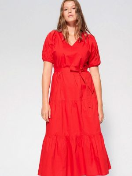 Повседневное платье красный весеннее Violeta By Mango