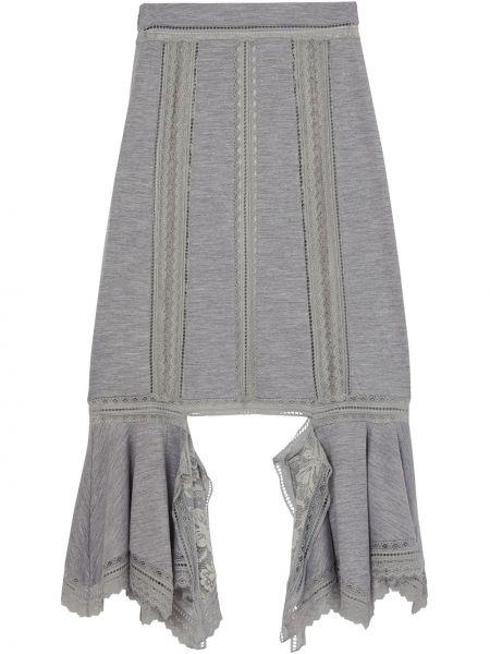 Ажурная асимметричная юбка миди на молнии в рубчик Burberry
