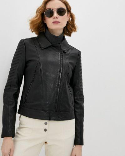 Черная кожаная куртка Hugo