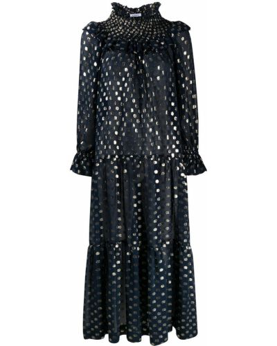 Шелковое синее платье миди в горошек P.a.r.o.s.h.