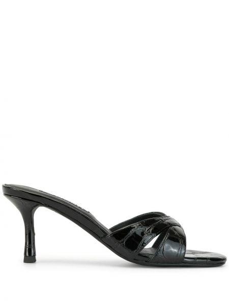 Кожаные черные мюли на каблуке с декоративной отделкой Senso