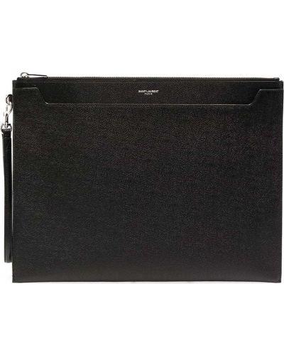 Z paskiem skórzany czarny torba sprzęgło z łatami Saint Laurent
