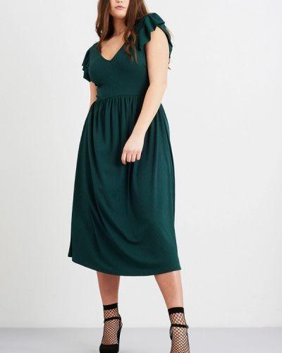 Платье миди осеннее зеленый Lost Ink Plus