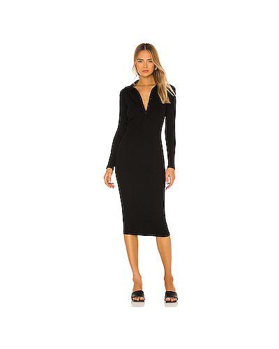 Черное шелковое платье в рубчик Enza Costa