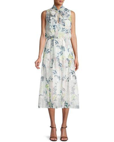 Белое платье миди в цветочный принт без рукавов Bcbgeneration