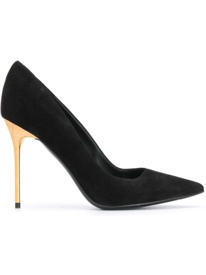 Кожаные черные туфли-лодочки без застежки на каблуке Balmain