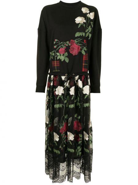 Платье миди с длинными рукавами - черное Antonio Marras