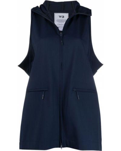 Синяя куртка с капюшоном без рукавов Y-3