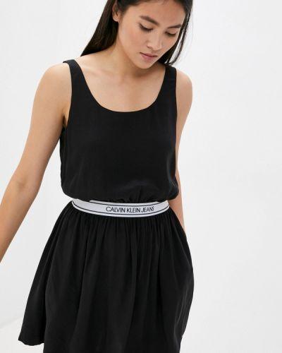 Черное прямое джинсовое платье Calvin Klein Jeans