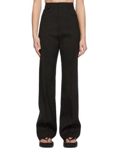 Czarne spodnie wełniane z paskiem Jacquemus