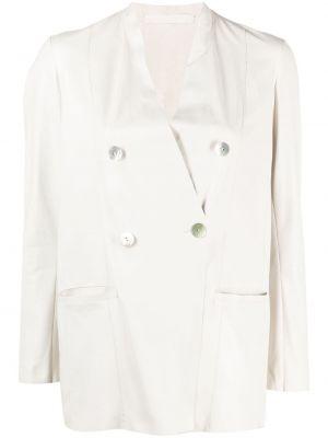 Кожаный удлиненный пиджак двубортный на пуговицах Salvatore Santoro