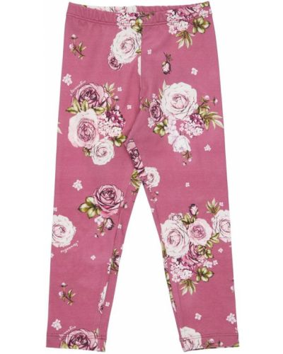 Różowe legginsy bawełniane w kwiaty Monnalisa