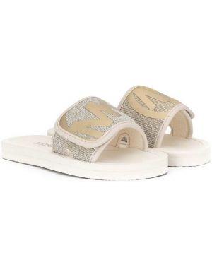 Белые открытые шлепанцы с открытым носком на плоской подошве Michael Kors Kids
