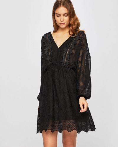 Расклешенное черное платье мини с вырезом Guess Jeans