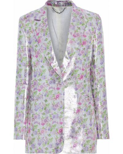 Серебряный пиджак с карманами с люрексом Paco Rabanne