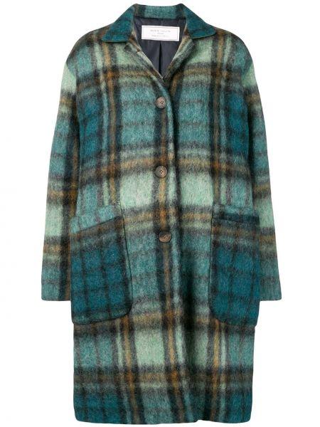 Синее шерстяное длинное пальто с капюшоном Société Anonyme