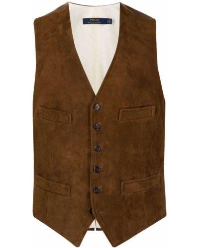 Коричневая жилетка с карманами с V-образным вырезом из вискозы Polo Ralph Lauren