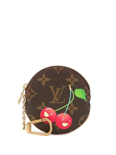 Коричневый кожаный кошелек для монет на молнии Louis Vuitton