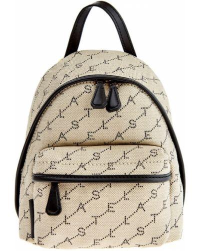 Кожаный рюкзак бежевый на молнии Stella Mccartney