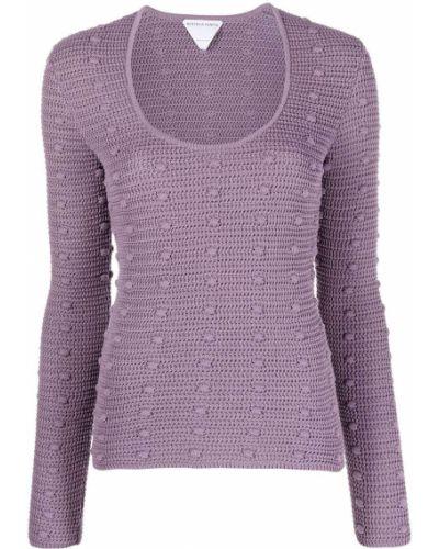 Фиолетовый хлопковый джемпер с длинными рукавами Bottega Veneta